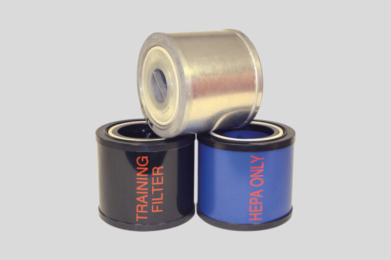 Three different types of filters including a gray, blue and silver filter.