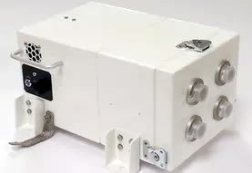 A white Integrated Cyclonic Fresh Air Filtration unit.
